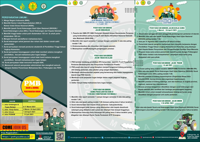 Brosur Penerimaan Mahasiswa Baru Polbangtan Medan  (Belakang)